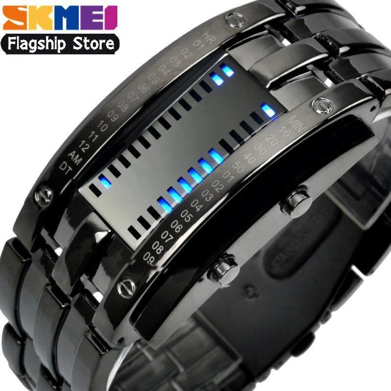SKMEI Jam Tangan Fashion Pria LED jam tangan couple Lampu Latar Bercahaya jam tangan pria anti