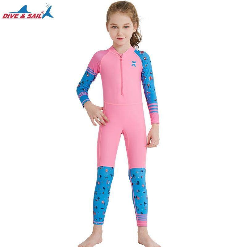 Dive Sail New Style Colorful Kids One-Piece Full Body Rash Guard Wet Suit  Long Sleeved 91b1c6e0b