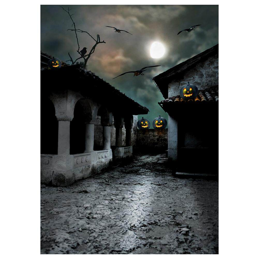 Vinyl Photography Background Photo Backdrops Magic Theme Horror night abandoned retro tile house, pumpkin lights, branches, crows, moon for Halloween 2.1*1.5M(7*5ft)