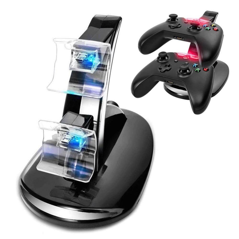 Noion ที่ชาร์จ Usb คู่แท่นชาร์จสำหรับจอยเกม Xbox One, สีดำ - Intl.