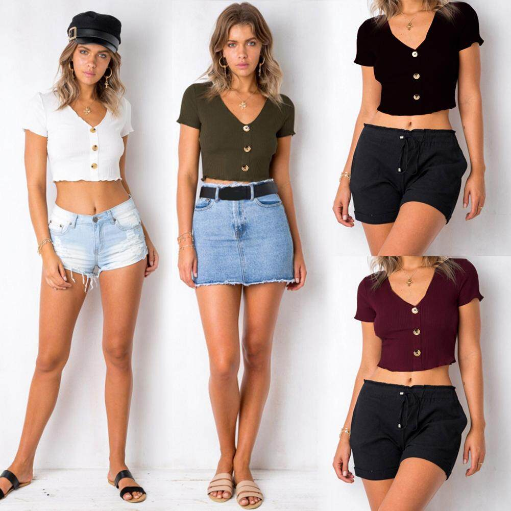 d6f8b9b9ac Women Knitted Cropped Top Ribbed Deep V Neck Short Sleeves Buttons Front  Casual Tops Blouse -