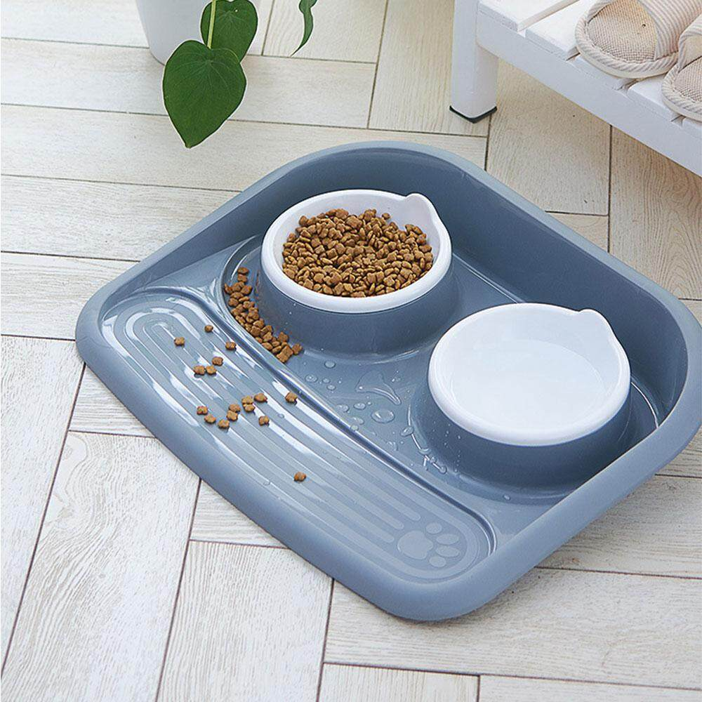 Niceeshop Double Bowl Pet Feeding Station Food And Water Bowls Leakproof And Non-Slip Food Dish Tray For Small Pet By Nicee Shop.
