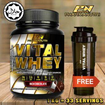 Whey Protein Halal – Vital Whey 1kg/2.2lbs, Whey Isolate With 24g Protein, 33 Servings - Fast Muscle Recovery (Chocolate Milkshake) + FREE Official 3-in-1 Pharmanutri Vital Whey Protein Shaker/Blender/Mixer 17oz/500ml (Black)