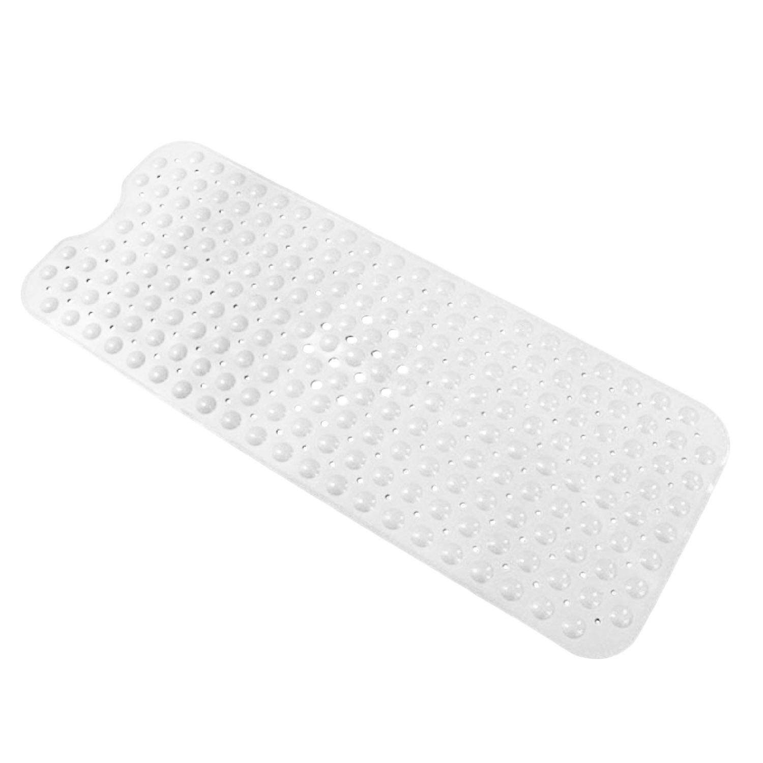 Long Pvc Anti Slip Home Bathroom Safety Massage Bath Shower Mat With Strong Suction Cup Bathroom Supplies 39 X 16inch White By Duha.