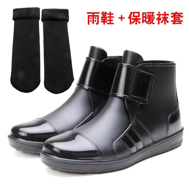 Sepatu boots hujan Pria musim gugur musim dingin Pendek Penghangat pekerjaan sepatu bot hujan Pria Sepatu