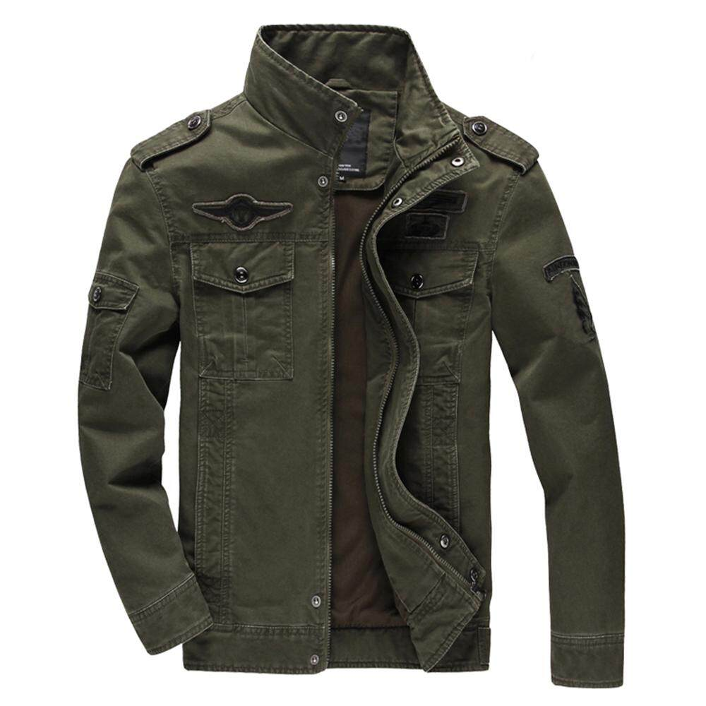 OEM Pria Militer Angkatan Darat Gaya Jaket Katun Fashion Angkatan Udara Kasual Zip Up Lebih Tahan Dr (Deep Green)