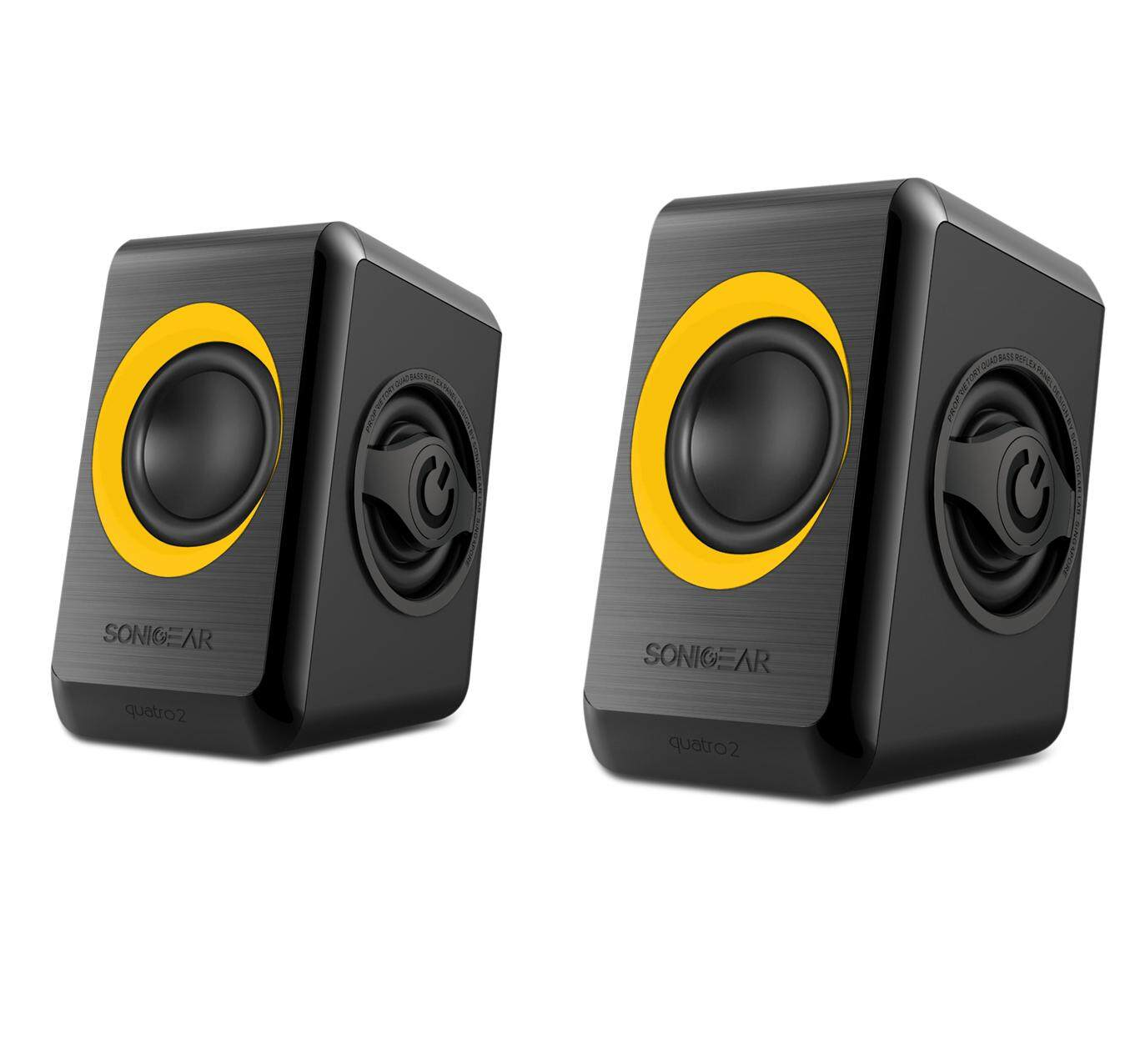 Sonic Gear Quatro 2 Stereo Speakers 2.0 with Quad Bass (USB Powered, Yellow Version, 1 Year Warranty)