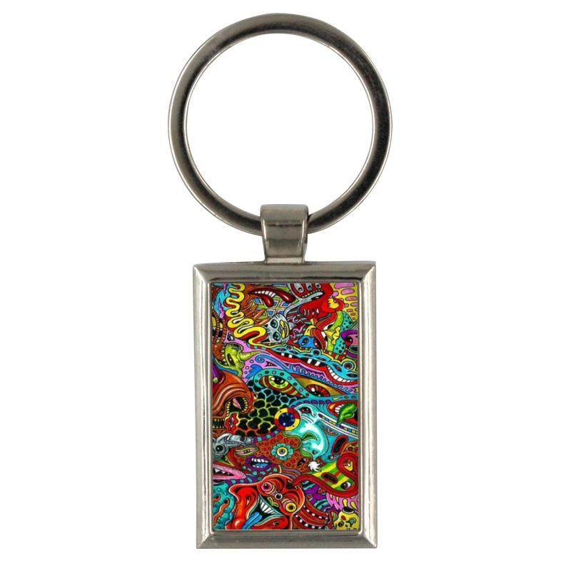 Keychain Surreal Colorful Psychedelic Wallpaper Backgroun for Keyring Mens Creative Alloy Metal Keyfob Gift Car Key Ring Chain Key chains - intl