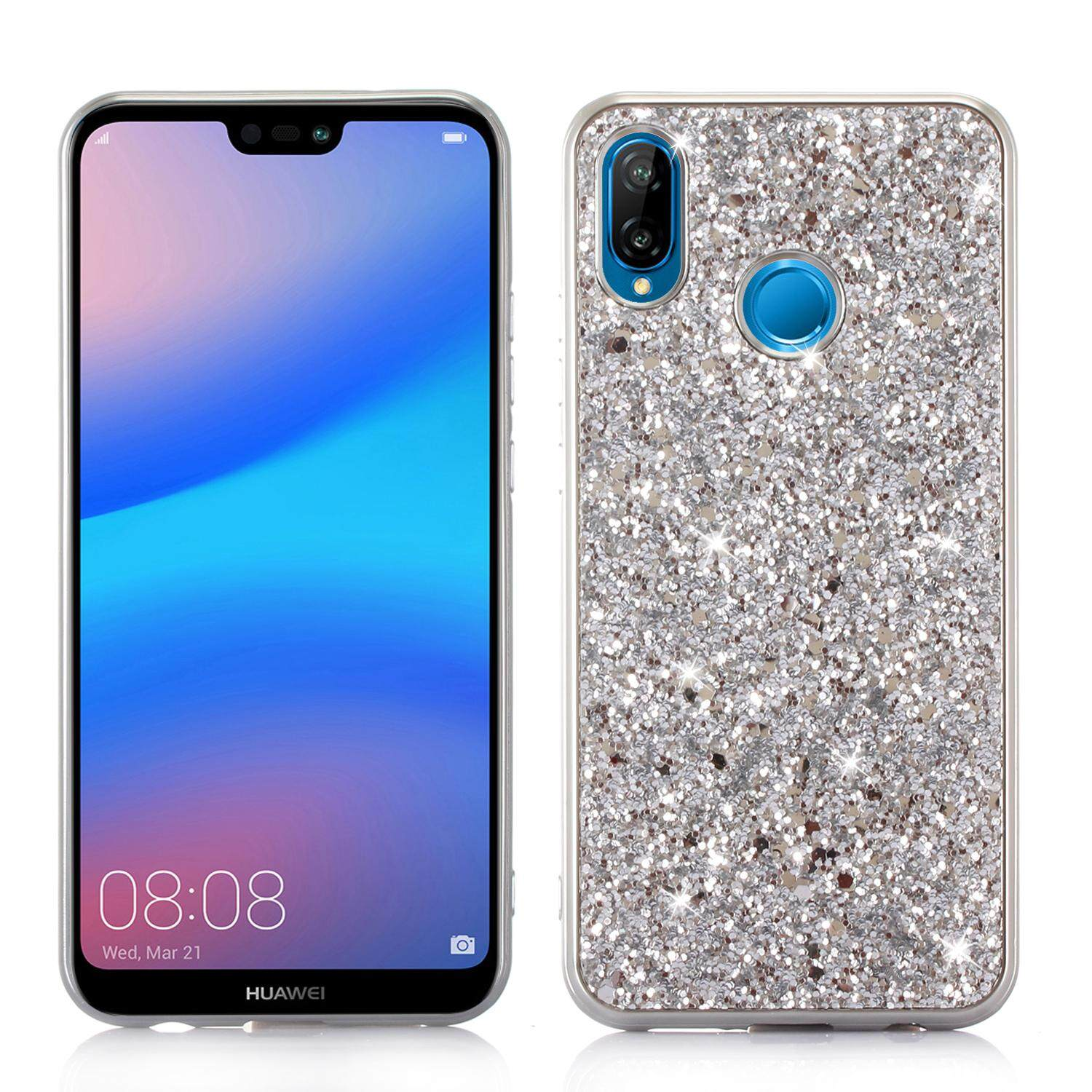 Duge case for Huawei Nova 3E ,Glitter Sparkle Dual Layer Shockproof Hard PC Back + TPU Inner Shell for Huawei P20 Lite