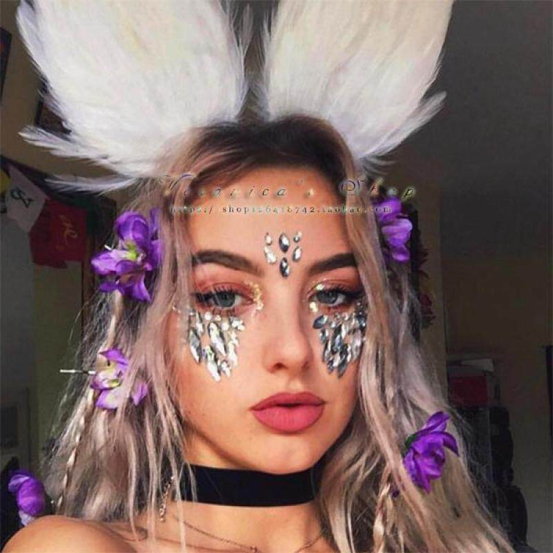 Buy [Veronica S Words】 Europe And America Hippie Music Festival Halloween M·PARTY Exaggeration Cool Rhinestones Paster Face Pasters Singapore