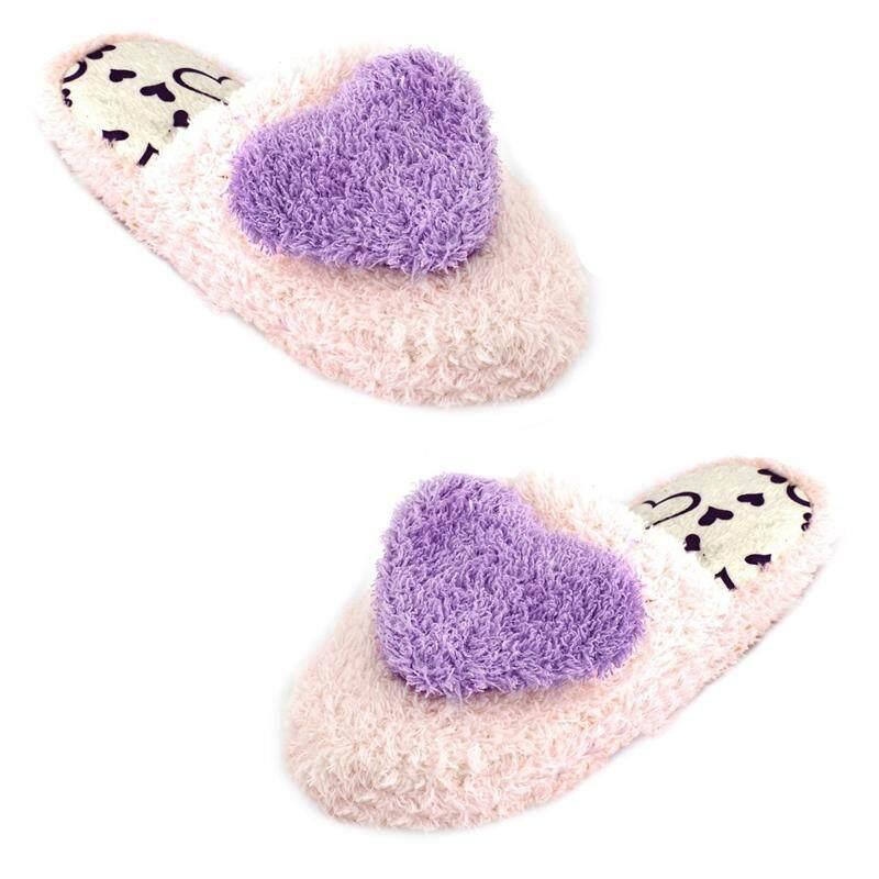 Ladies Light Pink Purple Heart Decor Plush Warm Warming Slippers 6.5
