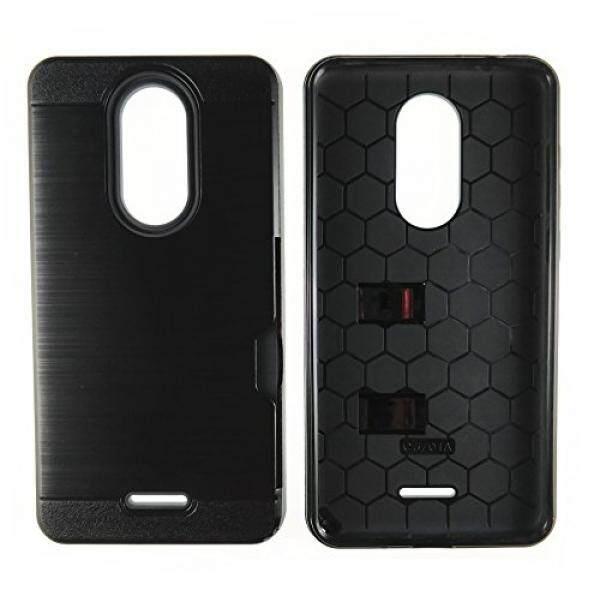 Smartphone Cases Cases T-Mobile Revvl Plus Case, Coolpad Revvl Plus Case, Heavy Duty Armor Shockproof Rugged Defender Dual Layer Brushed Metal Texture Protective Case with Card Holder (Black) - intl