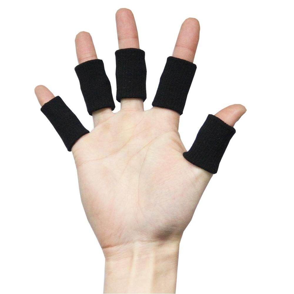 10 Pcs Outdoor Sports Cycling Golf Basketball Volleyball Tennis Nylon Elastic Finger Sleeve Wrap Support Protector Band Black - intl