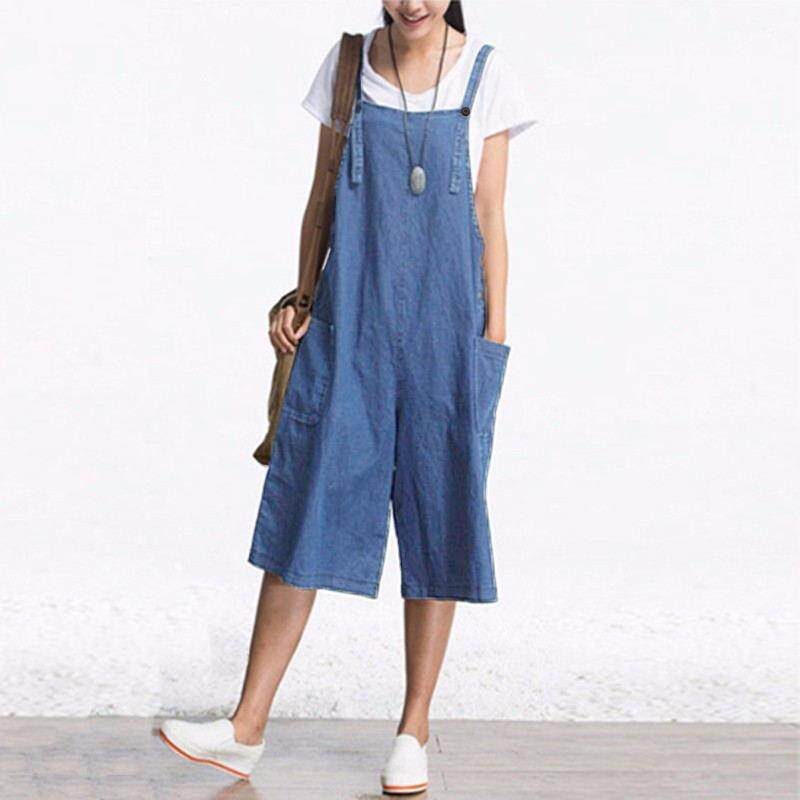 1e9668563cde ZANZEA Rompers Womens Jumpsuit Summer Autumn Sleeveless Fashion Wide Leg  Pants Denim Calf Length Vintage Overalls