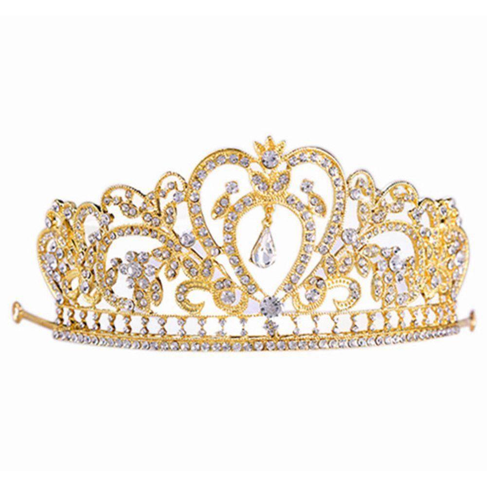 Princess Bridal Stunning Crystal Rhinestone Wedding Hair Tiara Crown Headband Color:#6 Gold