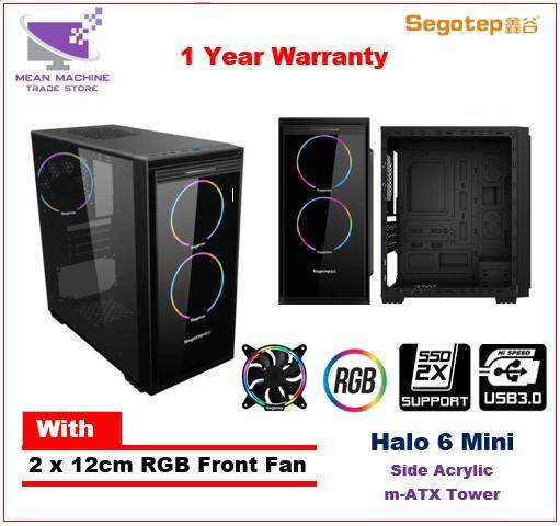 Segotep Halo 6 Mini / 2 x RGB Fan / M-ATX / Acrylic Gaming Chassis Malaysia