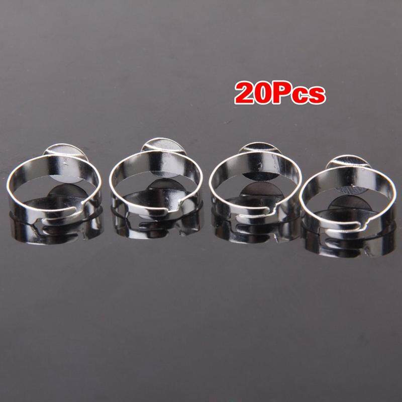 20pcs Silver Color Blank Adjustable Ring With 10mm Pad