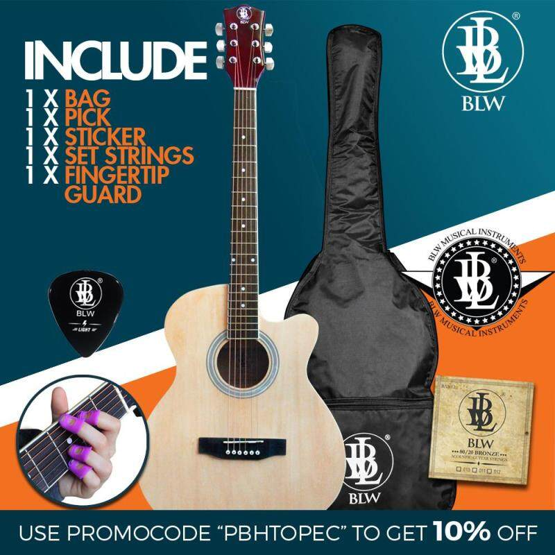 [USE VOUCHER 10% OFF] BLW 40 Inch Standard Orchestra Acoustic Guitar for Beginners Rosewood fingerboard SO400 Comes with Bag, String Set, Fingertip Guard, Pick and Merchandise Sticker (Natural) Malaysia