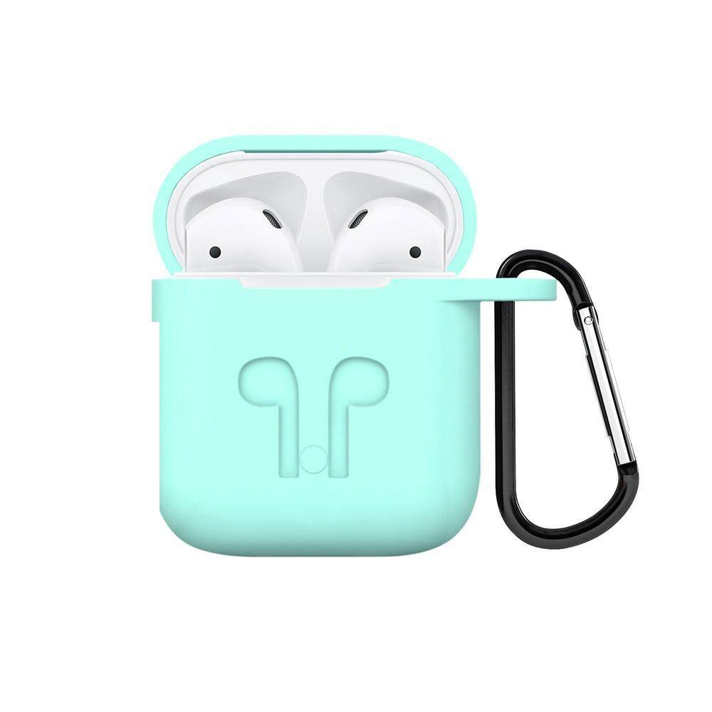 niceEshop Soft Silicone Cover For Apple Airpods Waterproof Shockproof Protector Case Sleeve Pouch For AirPods Earphone With Hook Singapore