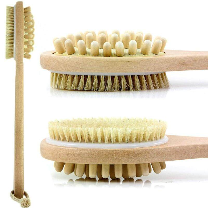 Buy Bath Blossom Natural Bristle Bath Body Brush - Exfoliating Scrub Brush - Effective for Wet and Dry Body Brushing - Long Handled Shower Back Scrubber Brush - Suitable for Men and Women Singapore
