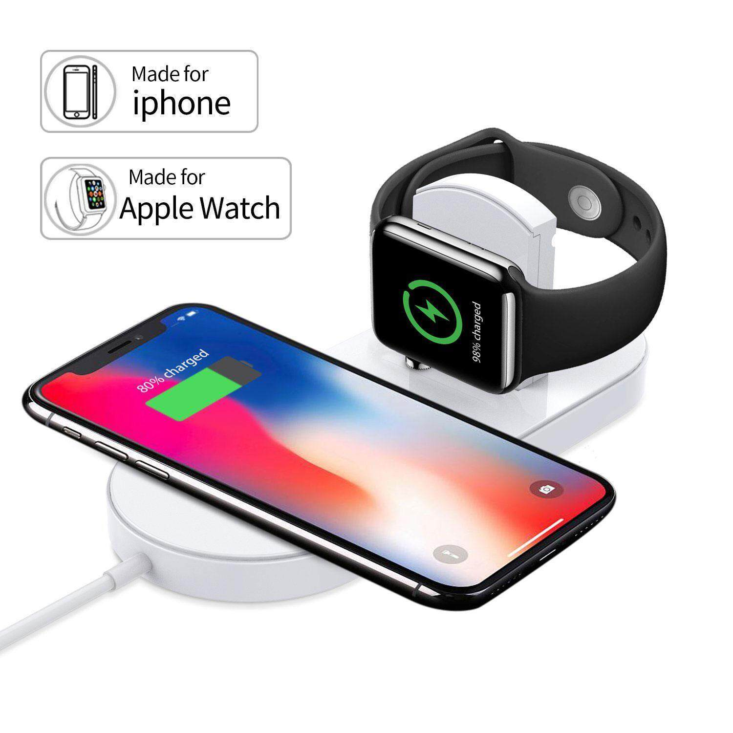 OrzBuy Apple Watch / IPhone Wireless Charger,Charging Stand, Ultra-thin 2 In 1 Qi Wireless Charging Pad Stand For Apple Watch Series 2/3, For IPhone X/iPhone 8/8 Plus,for Samsung Android