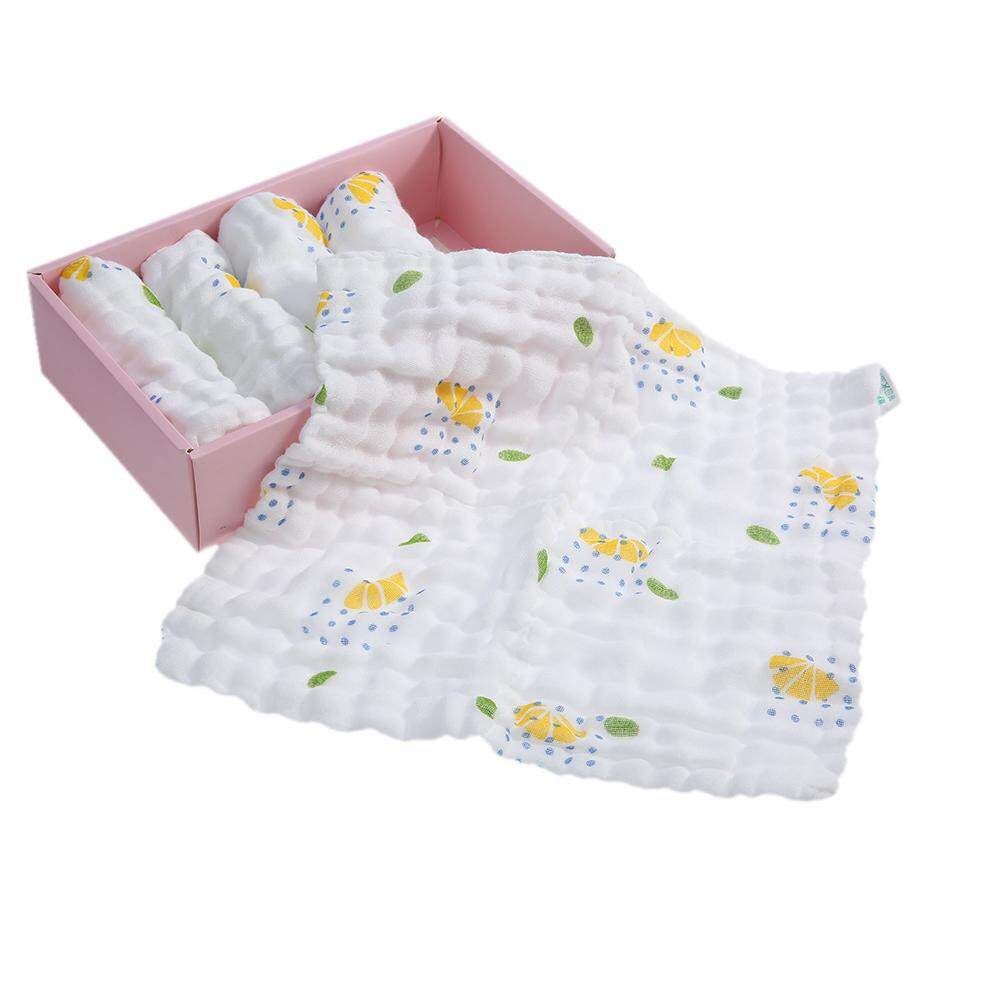 5pcs Baby Towel Washcloth 100% Organic Muslin Cotton Gauze Soft Absorbent Baby Wipes Burp Cloth For Newborn Infant Baby Lemon Printing By Tomtop.
