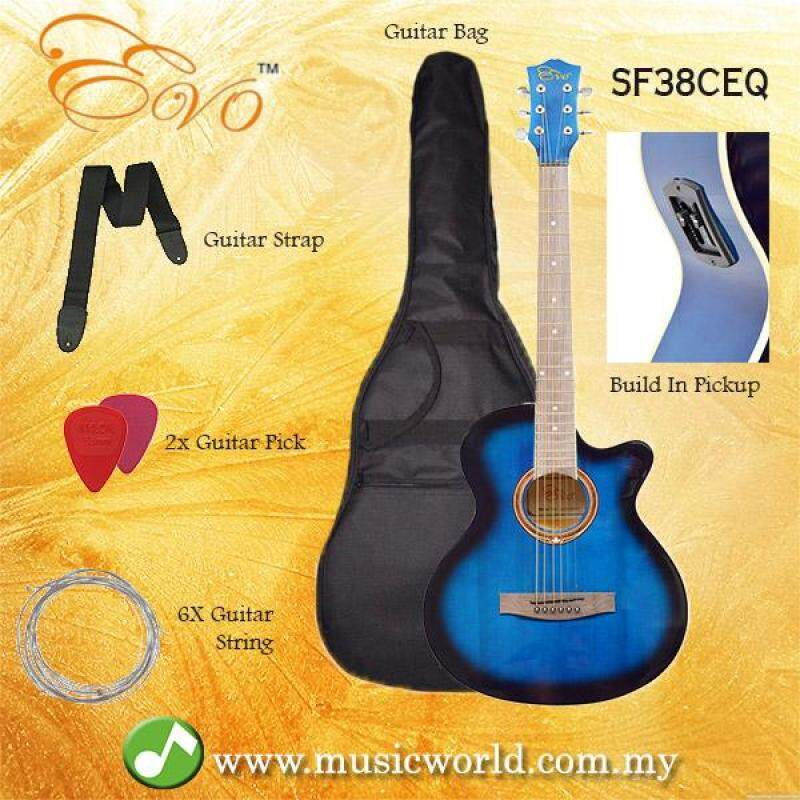 EVO SF38CEQ Blue Acoustic Guitar With Pickup 38 Inch Beginner Guitar Pick Up Student Guitar Free Bag String Pick Strap Malaysia