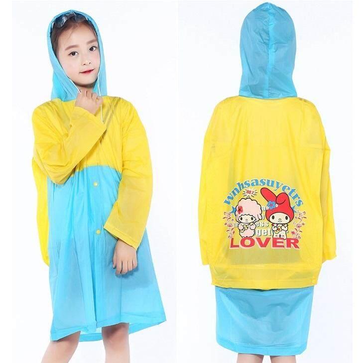 Giá bán Kid Girl Boy Raincoat Child Scool Bag Protected Lightweight Evironmental Friendly PVC Clear Hooded Rain Coat Waterproof Windproof Travel Hiking Climbing 1531 - intl