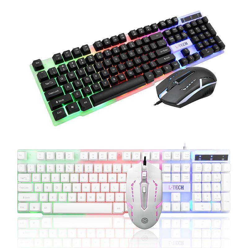 wired mechanical keyboard and mouse combo game sets combos (White&Black)