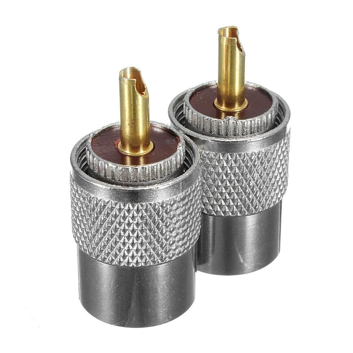 2 Pcs UHF PL-259 Pria Solder RF Colokan Konektor untuk RG8 Koaksial Konektor Kabel