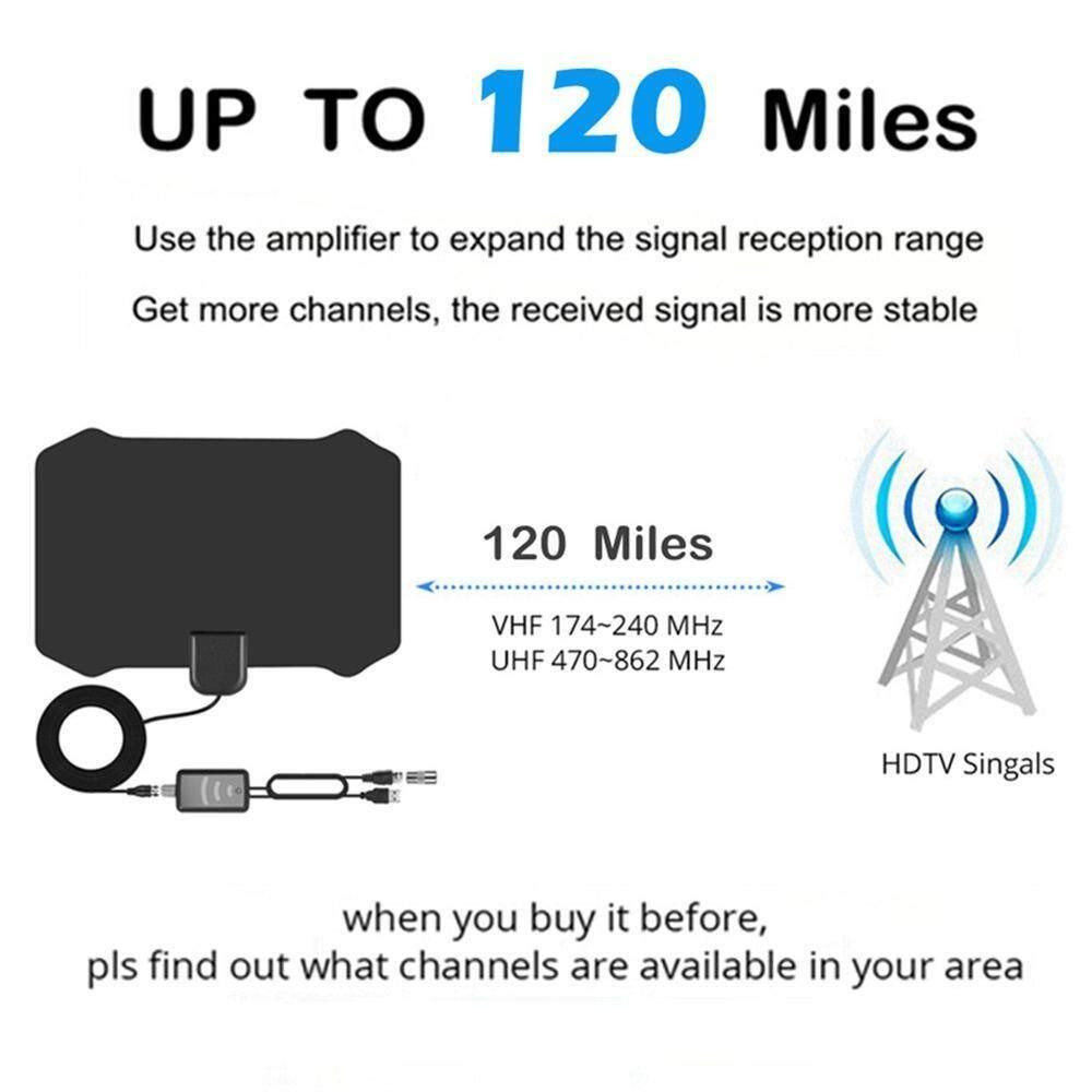 ... niceEshop 120 Miles Antena Digital HDTV Indoor TV Antenna with Amplifier Signal Booster TV Radius Surf ...