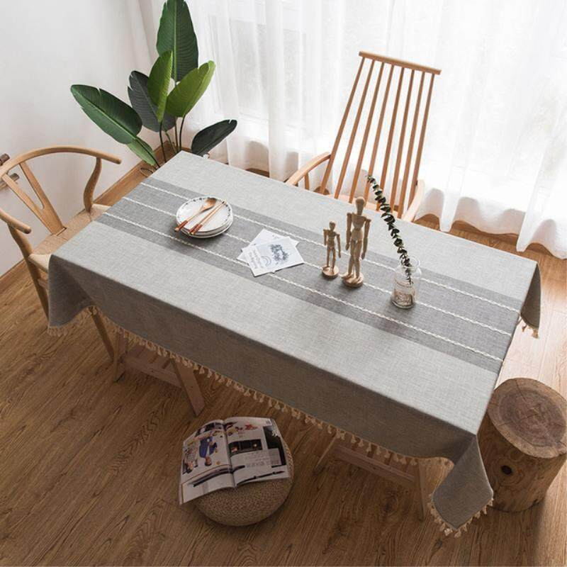 Home Cotton Linen Table Cloth Japanese Style Plaid Print Multifunctional Rectangle Dining Table Cover Tablecloth Home Kitchen Decor
