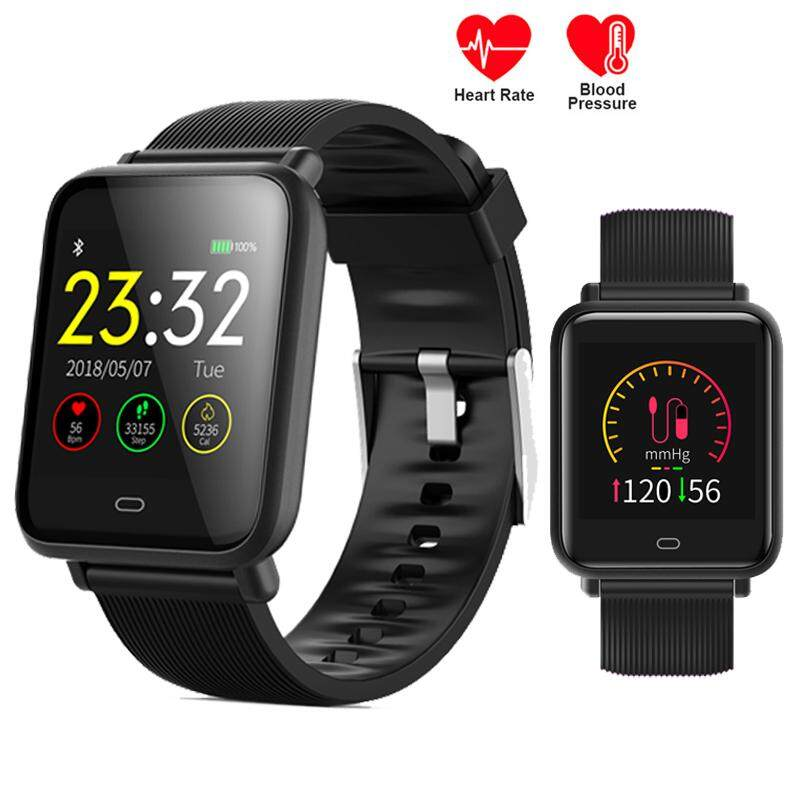 Hình ảnh 2018 New Smart Watch Men Women Q9 Real Blood Pressure Heart Rate Monitor Fitness Tracker IP67 Smartwatch for Android Iphone IOS-Black