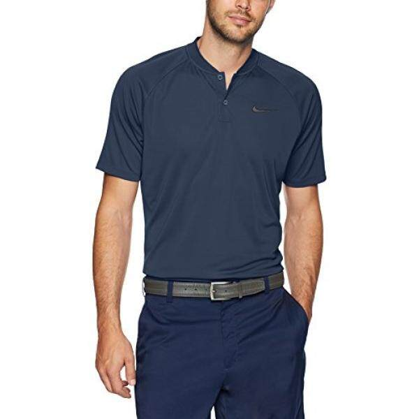 NIKE Mens Dry Momentum Team Polo Golf Shirt, College Navy/College Navy/Black, - intl