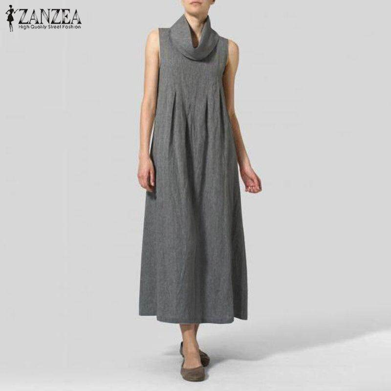 7deb6c063e204 ZANZEA Women Summer Sleeveless High Neck Tee Sundress Kaftan Plus Size  Flare Maxi Dress