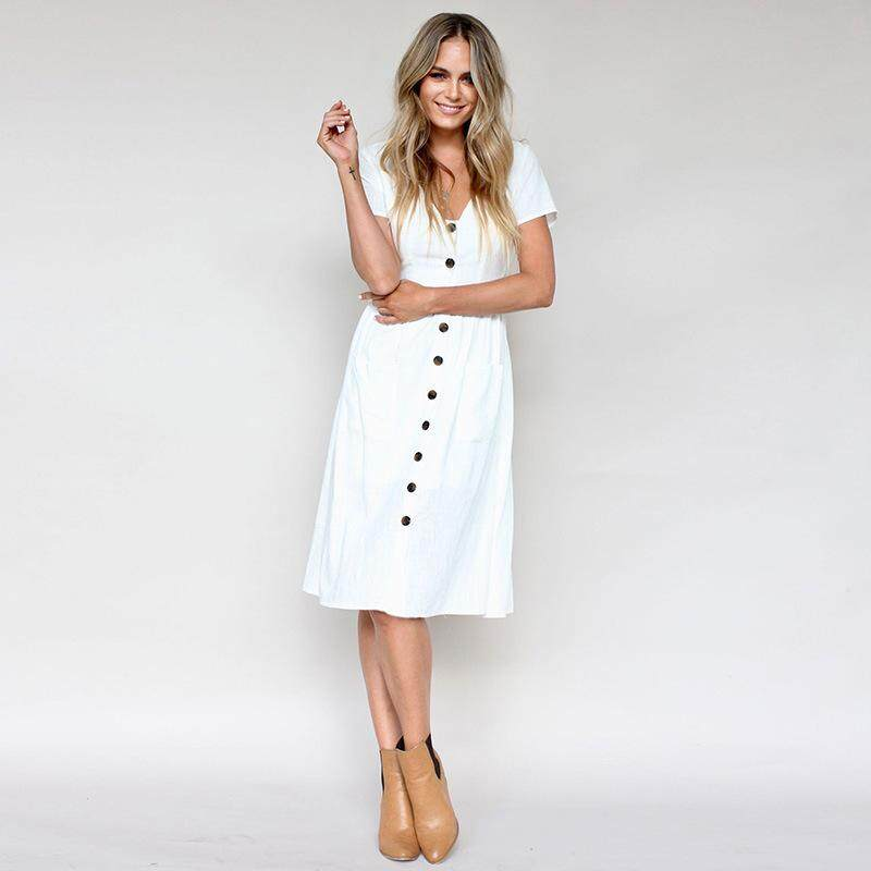 Women s Fashion Summer Short Sleeve V Neck Button Down Swing Midi Dress  with Pockets Beach Summer 82ef80f754e1