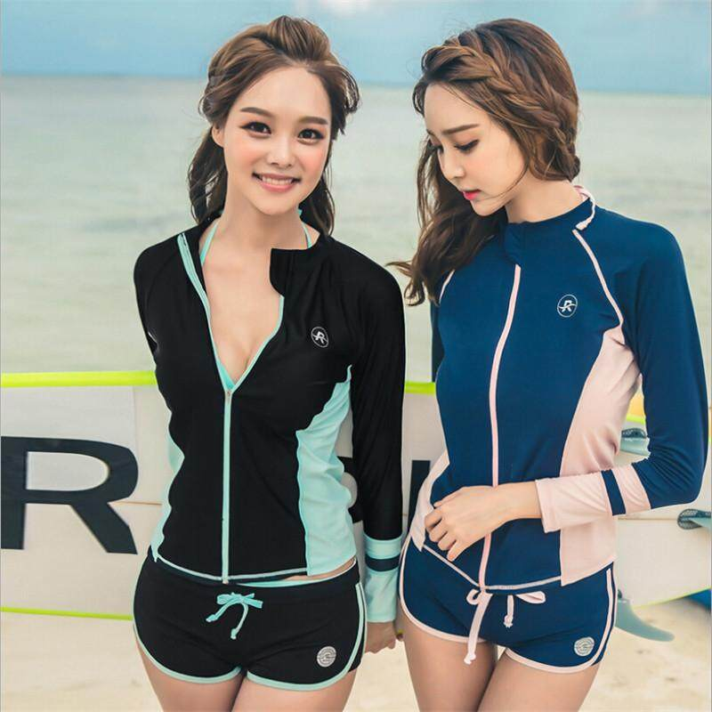 b2750540f1e 3pcs Diving Suit Swimsuit Surfing Suit Sunscreen Long Sleeves Swimwear Plus  Swimsuit Casual Female Bathing Swimming