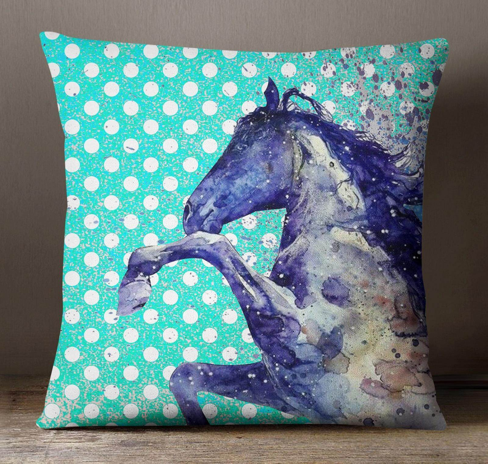 S4sy Decorative Turquoise Horse Print Cushion Cover Square Pillow Case Throw 22 X Inches