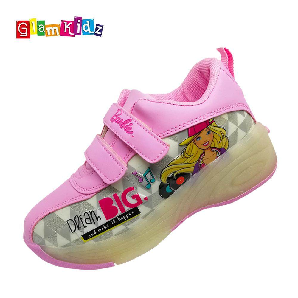 GlamKidz Barbie Girls Fashion Roller Skate Sports Shoes With Retractable Roller & LED #7252