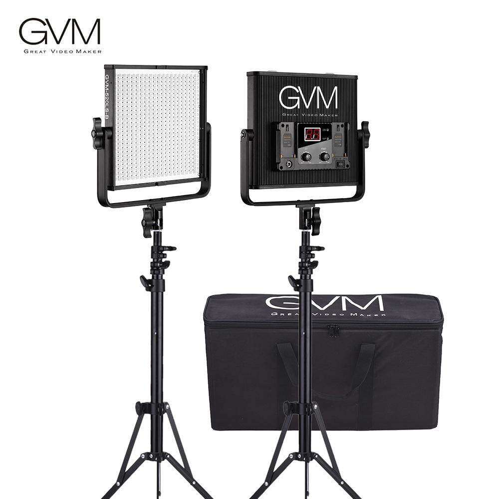 Gvm Gvm-520ls-B 2pcs Dimmable Bi-Color Video Panel Light And 70inch Stand Lighting Kit Cri97+ Tlci97 3200-5600k Aluminum Alloy Housing With U-Bracket Interview Film-Making Studio Photography By Koko Shopping Mall.