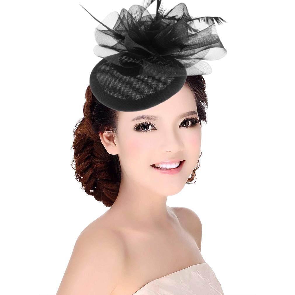 dd21c81621419 GEMVIE Ladies Royal Fascinators Wedding Races Sinamay Cocktail Feather  Fascinator Hat Women Hair Clip Headwear Hair