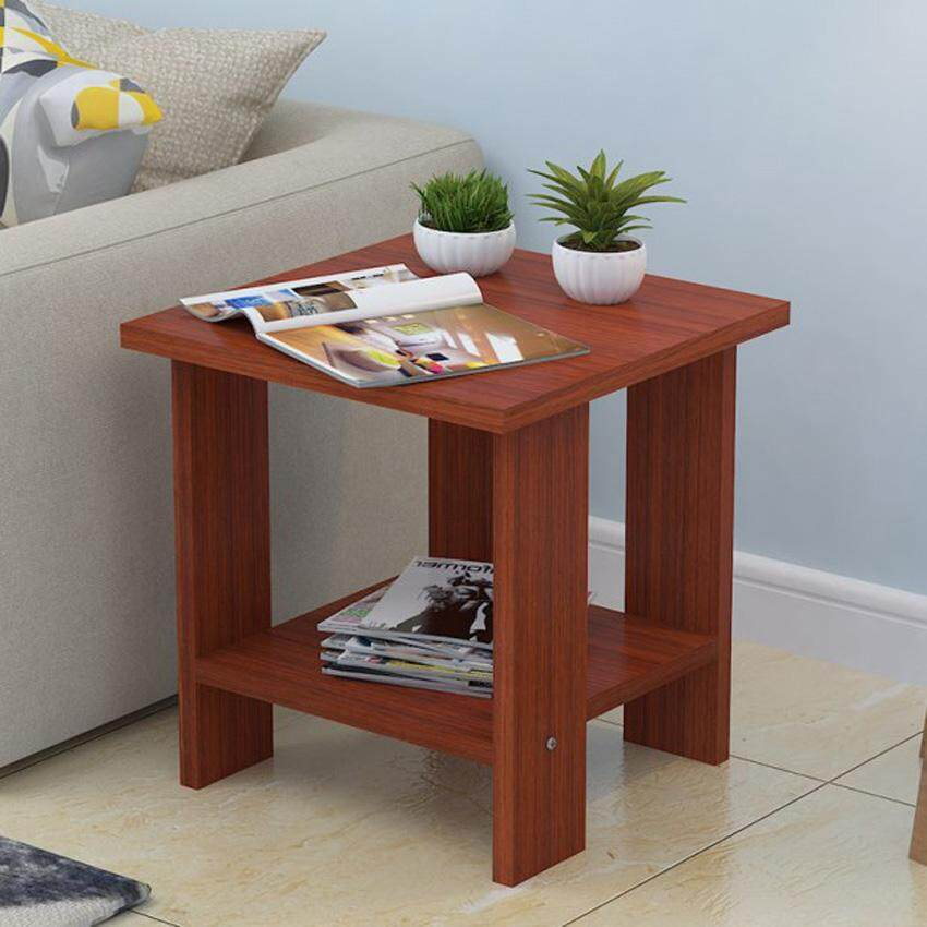 RuYiYu - 40X40X42 cm, 2 Layer Square Wood Coffee Table, Multi-color Optional, Wood Frame - intl