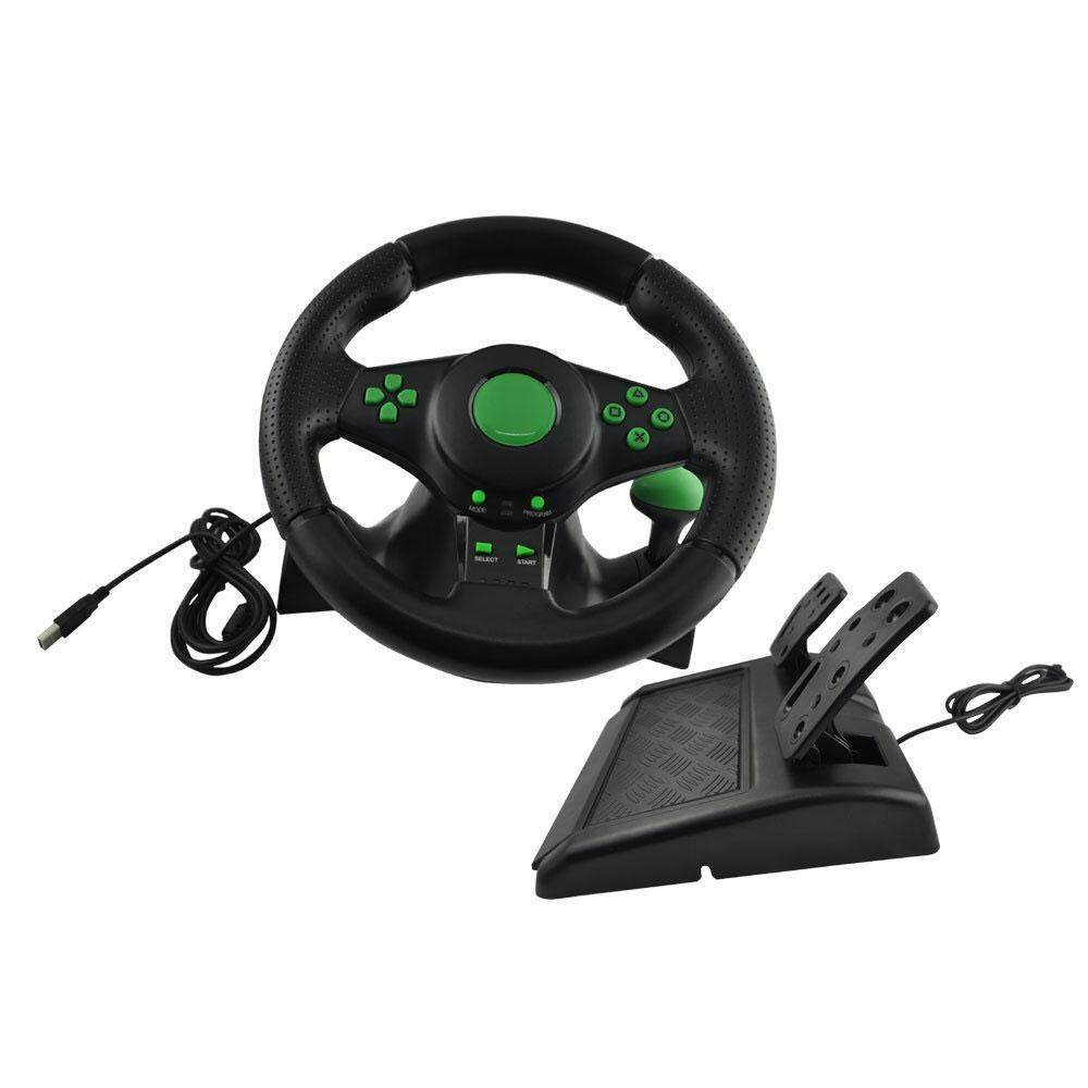 OrzBuy XBOX360/PS3/PS2/PC Game Steering Wheel, USB Computer Vibration  Steering Wheel, 180 Degree Zero Dead Angle Linear Steering Rotation, Super