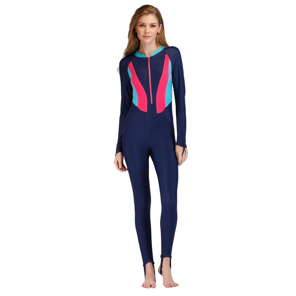 Hình ảnh Front Zipper Womens Full Body One Piece Beach Surfing Snokeling Diving Wetsuit Swimwear UV Protection Swim Wear Ladys Rashguard 1199 - intl