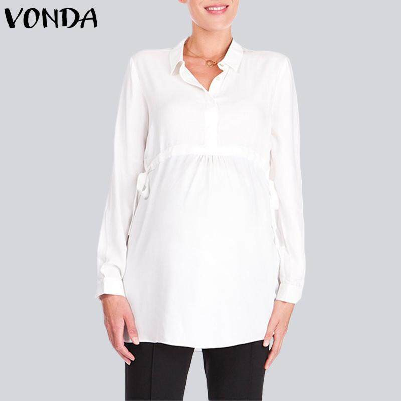 d16b8ee1cb9a9 VONDA Maternity Women Pregnancy Celeb Lapel Neck Long Sleeve Waistline Blouse  Shirt