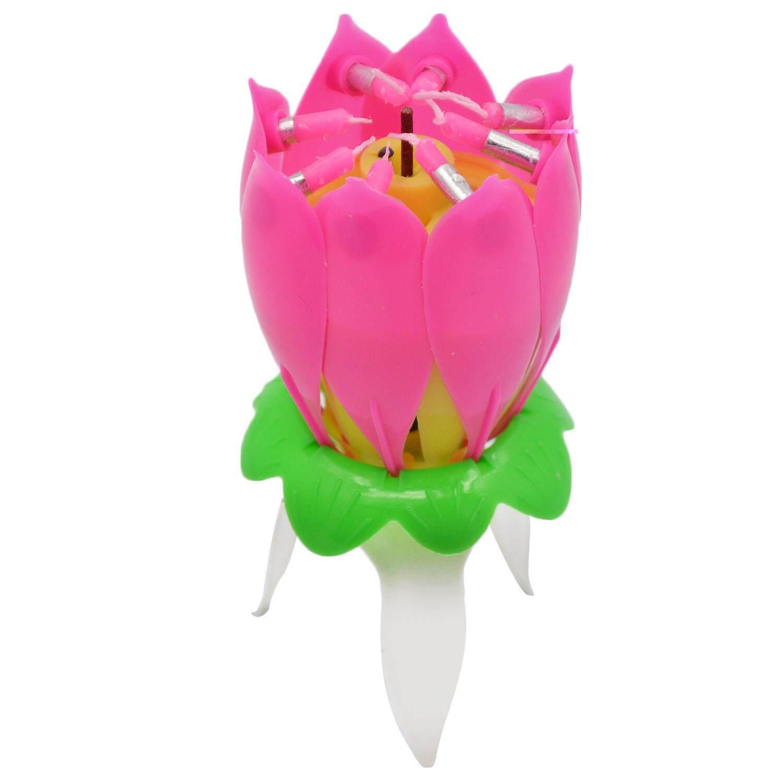 Lilin Ulang Tahun Musik Bunga Lotus Musik Berputar Selamat Bunga Ulang Tahun Lilin-Intl