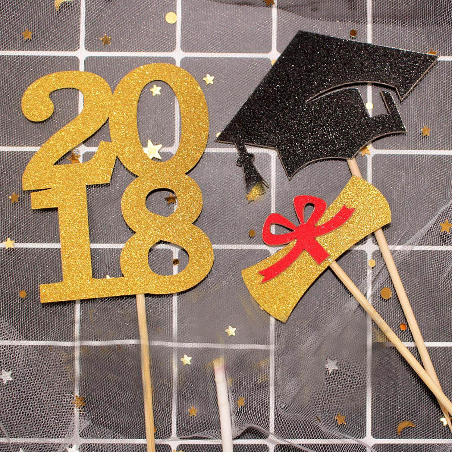 15 Pcs Gold Glitter 2018 Graduation Cupcake Toppers Sticks Cake Table Centerpieces Decoration - Intl By Stoneky.