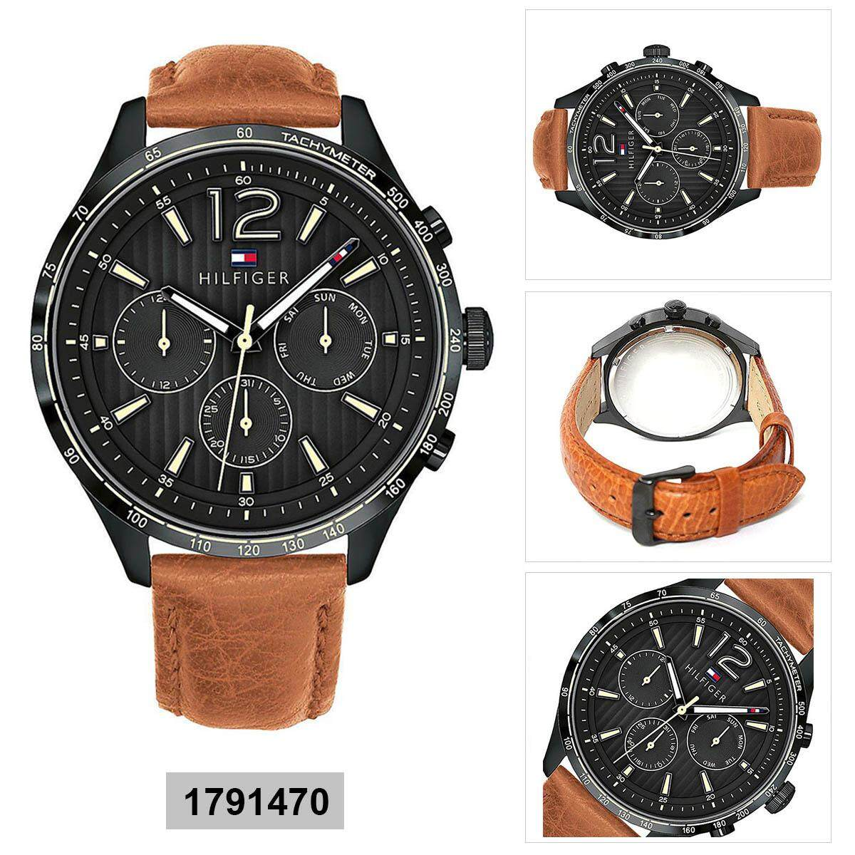 e02d3da9ff Tommy Hilfiger Gavin Multi-Function Brown Stainless-Steel Case Leather  Strap Mens 1791470