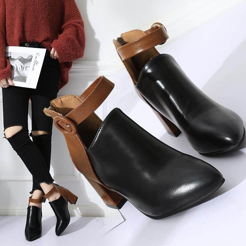Ukuran Plus untuk Wanita dengan Tebal Bertumit Tinggi Perban Sepatu Martin Kualitas Tinggi