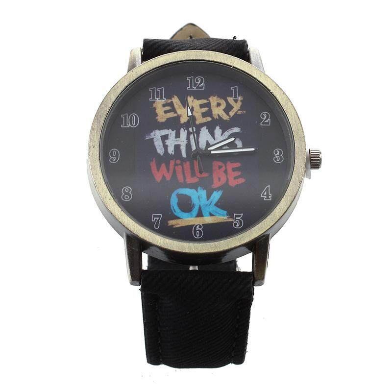 Female Male All is Good Cartoon Fake Leather Band Quartz Wrist Watch black Malaysia